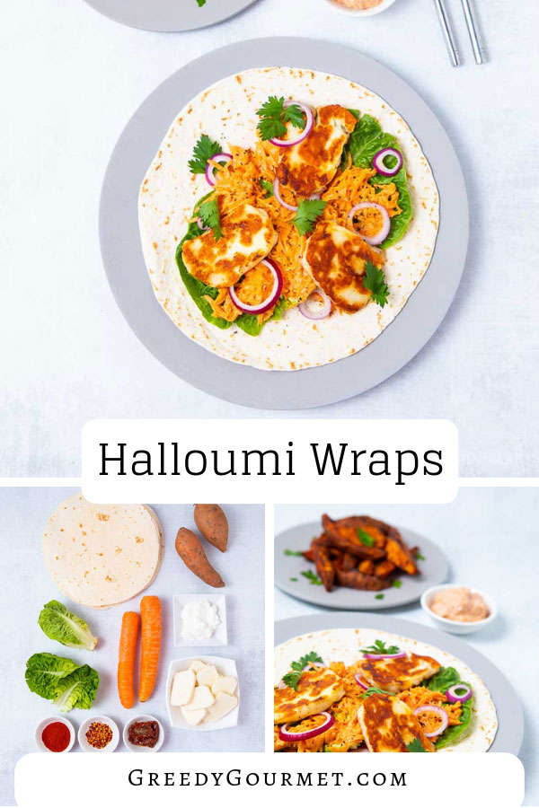 These Greek halloumi wraps are made with fresh halloumi, creamy carrot salad and paired with amazing sweet potato wedges. Read about possible variations.