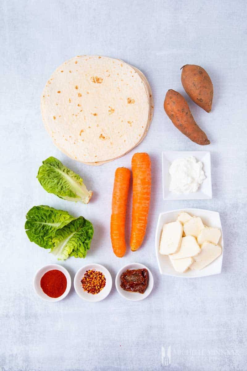 Ingredients to make halloumi wraps