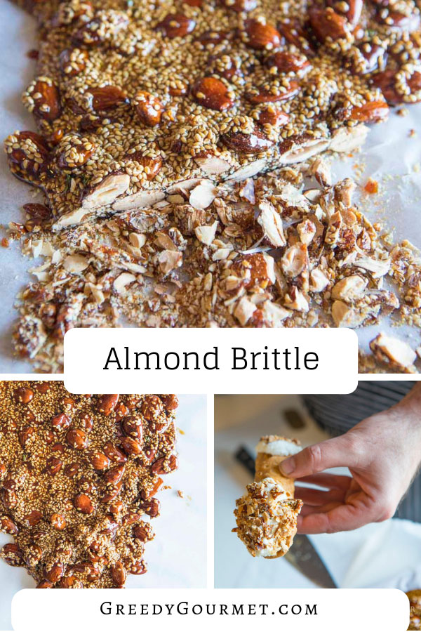 This #Sicilian #almondbrittle is made with whole skinless unsalted almonds, butter, vanilla extract, sesame seeds & thyme. Add a pinch of salt to refine it.