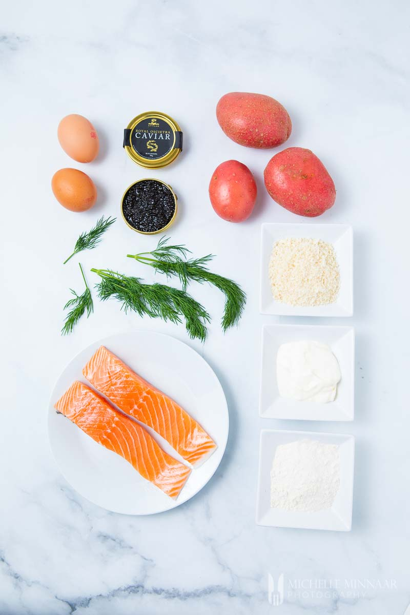 Ingredients to make salmon rissoles