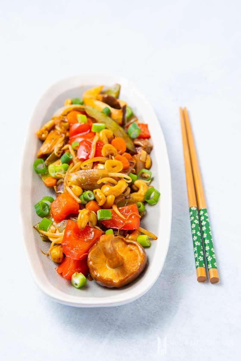 A plate of vegan chop suey