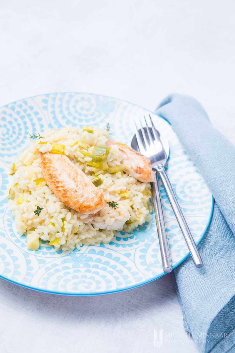 A plate of chicken and leek risotto