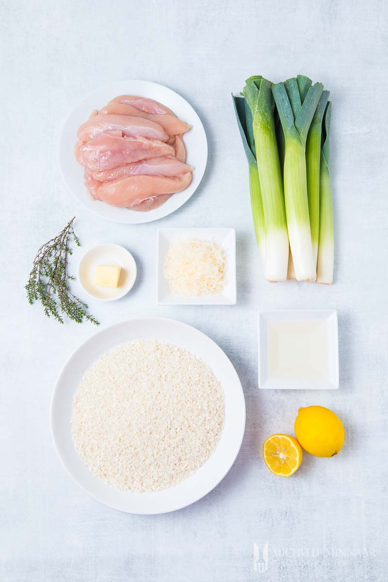 Ingredients to make chicken and leek risotto