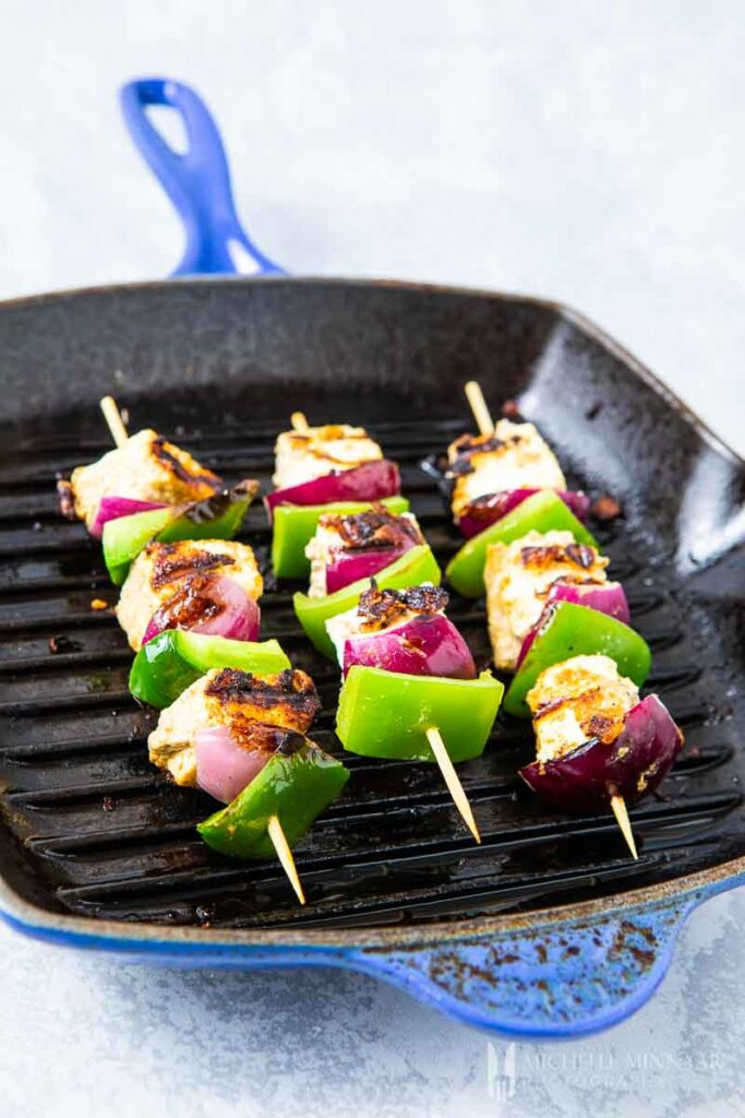 Skewers of tofu and peppers